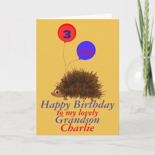 Hedgehog Cartoon Birthday Grandson Add Name Age Card Zazzle