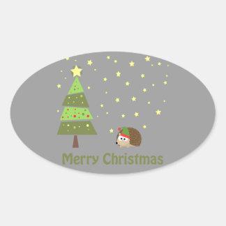 Hedgehog Christmas Scene Oval Sticker