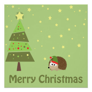Hedgehog Christmas Scene Poster