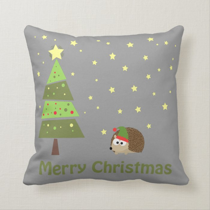 Throw Pillow Movie Scene : Hedgehog Christmas Scene Throw Pillow Zazzle
