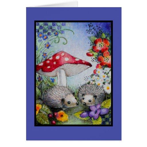 Hedgehog Couple Blank Card
