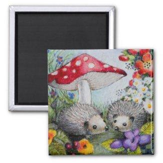 Hedgehog Couple Magent 2 Inch Square Magnet