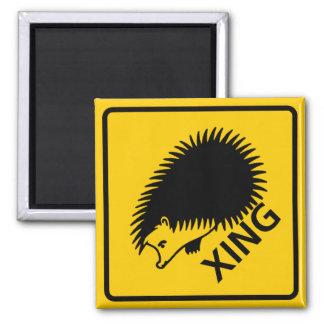 Hedgehog Crossing Highway Sign 2 Inch Square Magnet