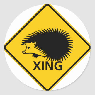 Hedgehog Crossing Highway Sign Classic Round Sticker