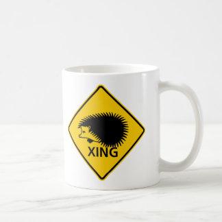 Hedgehog Crossing Highway Sign Coffee Mug