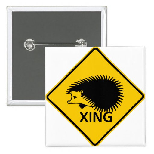 Hedgehog Crossing Highway Sign Pinback Button