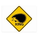 Hedgehog Crossing Highway Sign Postcard