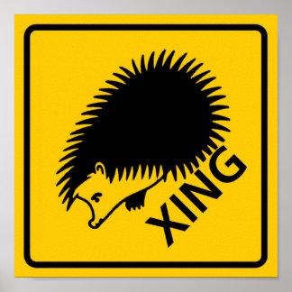 Hedgehog Crossing Highway Sign Poster