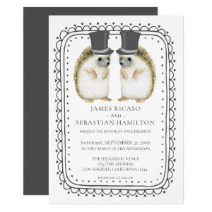 Hedgehog Cute Gay Grooms Wedding Card