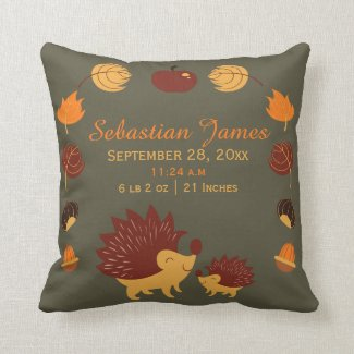 Hedgehog Cute New Baby Birth Record Personalized Throw Pillows
