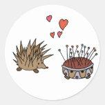 Hedgehog - erizo pegatina redonda