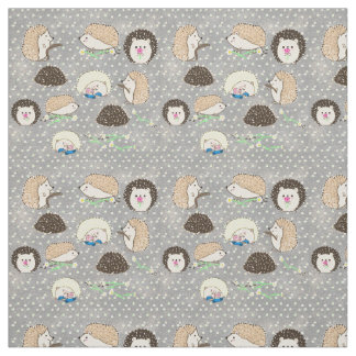 Hedgehog Fabric - cute critter art by LeahG