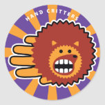 Hand shaped Hedgehog Face Classic Round Sticker