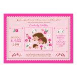 "Hedgehog Family Baby Girl Shower Invitation 5"" X 7"" Invitation Card"