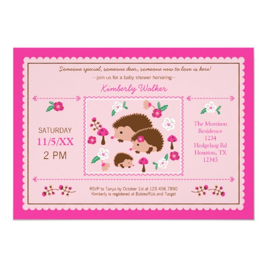 Hedgehog Family Baby Girl Shower Invitation