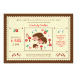 "Hedgehog Family Unisex Baby Shower Invitation 5"" X 7"" Invitation Card"
