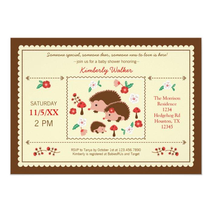 Family Baby Shower Invitations: Hedgehog Family Unisex Baby Shower Invitation