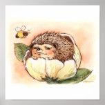 Hedgehog Flower Baby Posters