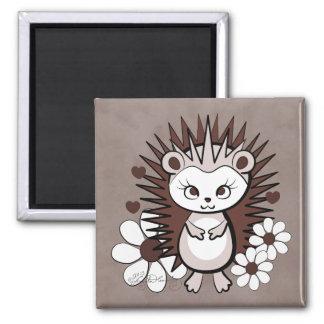 Hedgehog Girly Cute Brown Refrigerator Magnet