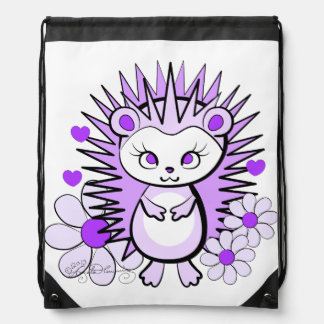 Hedgehog Girly Cute Lavender Drawstring Backpack