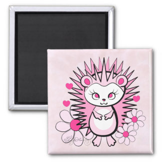 Hedgehog Girly Cute Pink 2 Inch Square Magnet