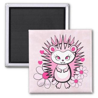 Hedgehog Girly Cute Pink Fridge Magnet