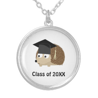 Hedgehog Graduate 20XX Round Pendant Necklace