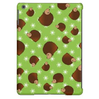 Hedgehog green flowers iPad air cases