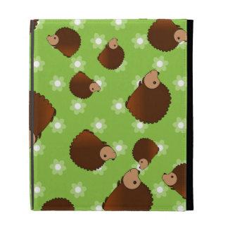 Hedgehog green flowers iPad folio covers