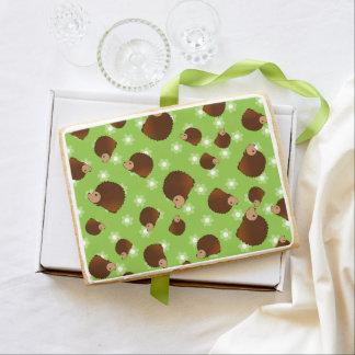 Hedgehog green flowers jumbo cookie