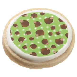 Hedgehog green flowers round premium shortbread cookie
