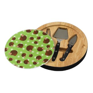 Hedgehog green flowers round cheese board