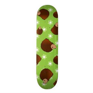 Hedgehog green flowers skate deck