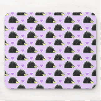 Hedgehog Heart Pattern Purple Mouse Pad