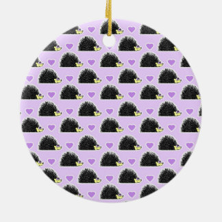 Hedgehog Heart Pattern Purple Ornaments