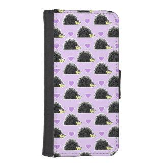 Hedgehog Heart Pattern Purple Phone Wallet Case