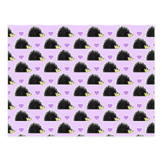 Hedgehog Heart Pattern Purple Postcard