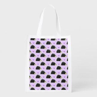 Hedgehog Heart Pattern Purple Reusable Grocery Bag