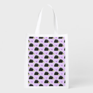 Hedgehog Heart Pattern Purple Reusable Grocery Bags