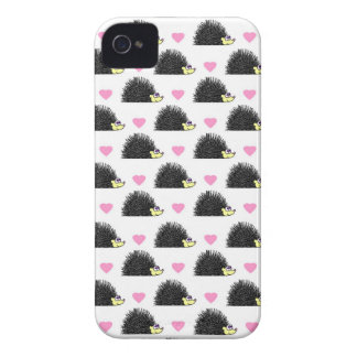 Hedgehog Heart Pattern White Case-Mate iPhone 4 Cases