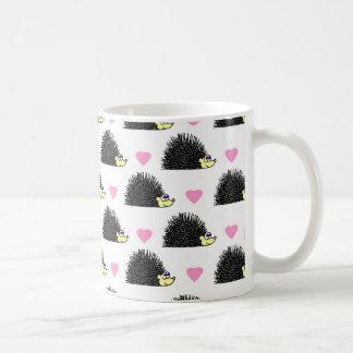 Hedgehog Heart Pattern White Coffee Mug