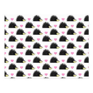Hedgehog Heart Pattern White Postcard
