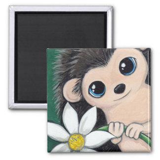Hedgehog Holding a Flower | Cute Animal Art Magnets