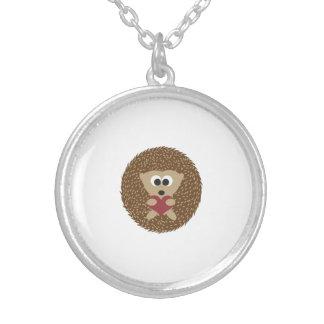 Hedgehog Hugging Heart Round Pendant Necklace