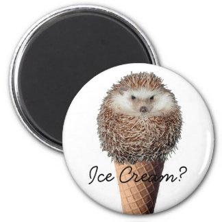 Hedgehog Ice Cream 2 Inch Round Magnet
