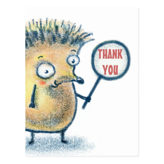 Hedgehog Illustration Kids Thank You Postcard
