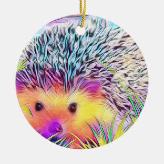 Hedgehog image ceramic ornament