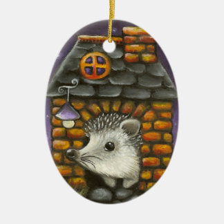 Hedgehog in his cosy little home ceramic ornament