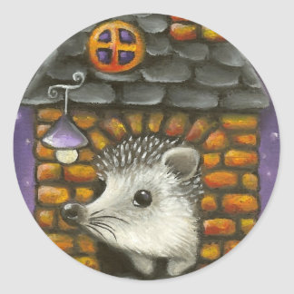 Hedgehog in his cosy little home classic round sticker