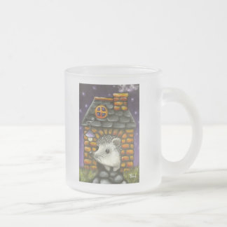 Hedgehog in his cosy little home frosted glass coffee mug